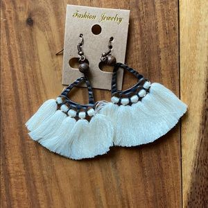 Bronze Earrings with Cream Tassels